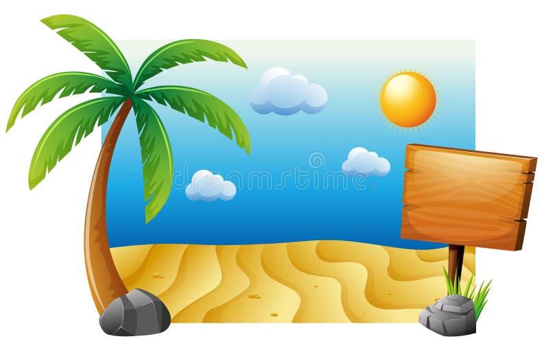 Scena di estate con la spiaggia e l'albero royalty illustrazione gratis
