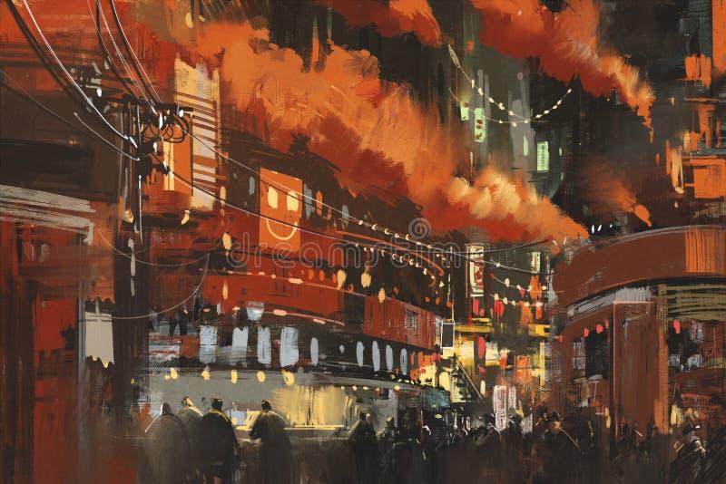 Scena di fantascienza che mostra paesaggio urbano di Cyberpunk illustrazione vettoriale