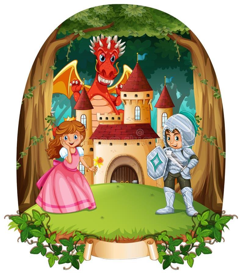 Scena di favola con principe e principessa royalty illustrazione gratis