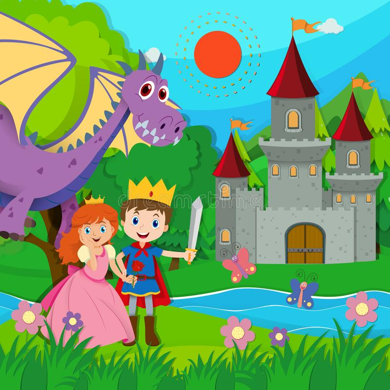 Scena di favola con principe e principessa illustrazione vettoriale
