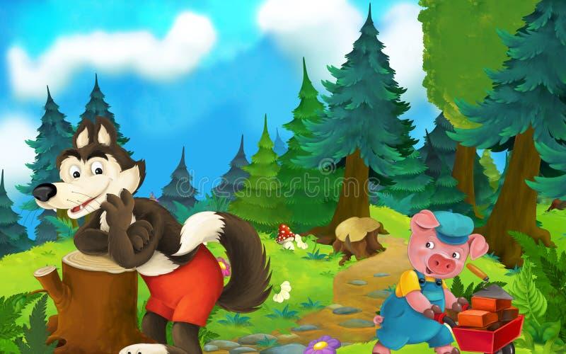 Scena di fiaba del fumetto con il lupo sul prato ed il costruttore felice del maiale che cammina intorno illustrazione vettoriale