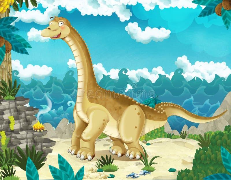 Scena di fumetti sulla spiaggia o sull'oceano con dinosaur diplodocus - illustrazione royalty illustrazione gratis