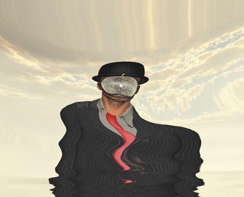 Scena di fusione dell'uomo in vestito scuro royalty illustrazione gratis