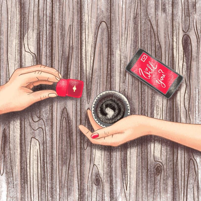Scena di giorno proposta, nozze o del ` romantiche s del biglietto di S. Valentino royalty illustrazione gratis