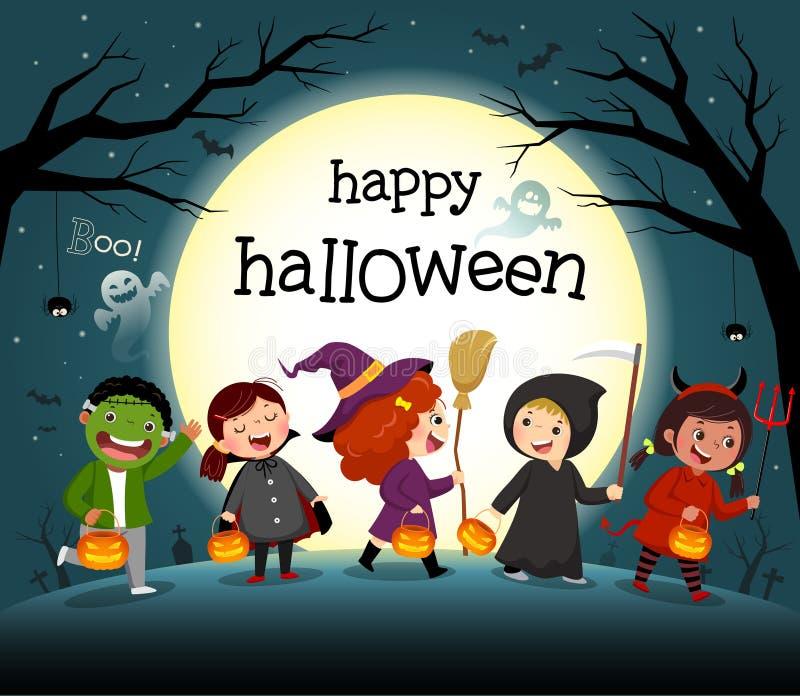 Scena di Halloween con un gruppo di bambini in una festa in costume illustrazione vettoriale