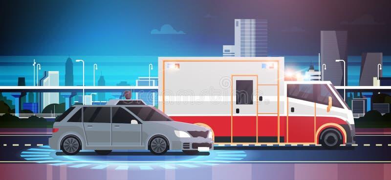 Scena di incidente stradale di schiacciamento della strada con l'ambulanza sopra il fondo della città illustrazione vettoriale