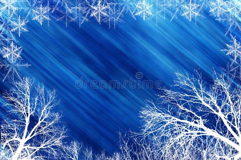 Scena di inverno con backround blu illustrazione vettoriale
