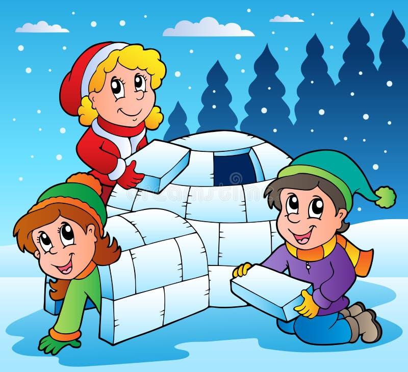 Scena di inverno con i bambini 1 illustrazione vettoriale