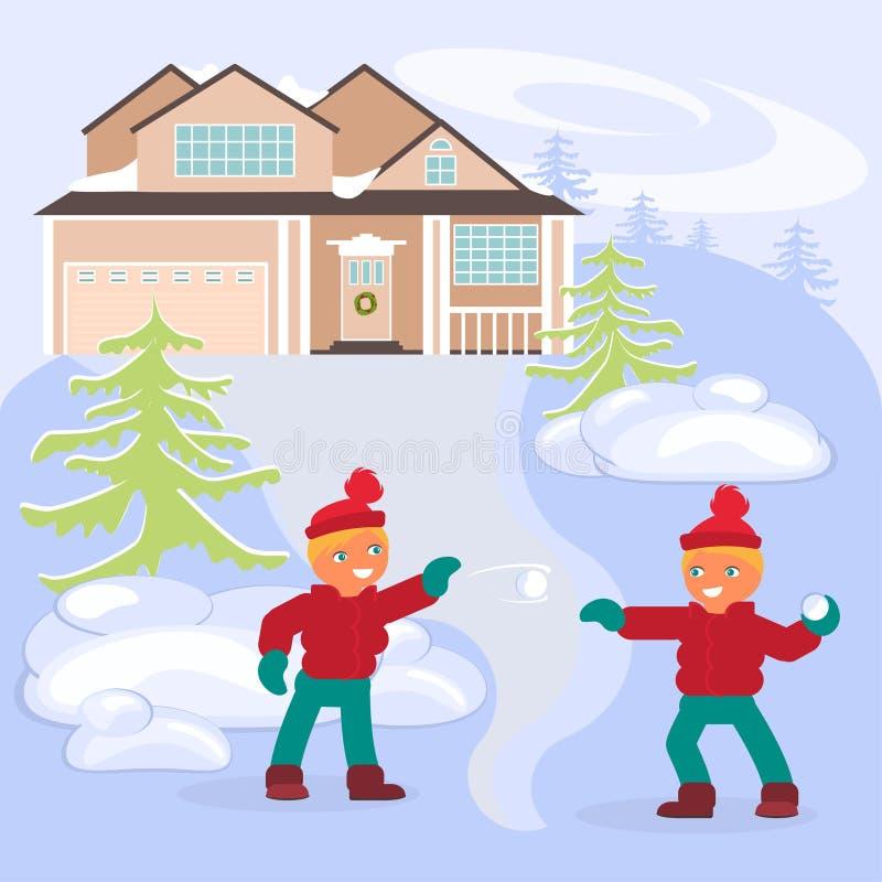 Scena di inverno con i bambini illustrazione vettoriale