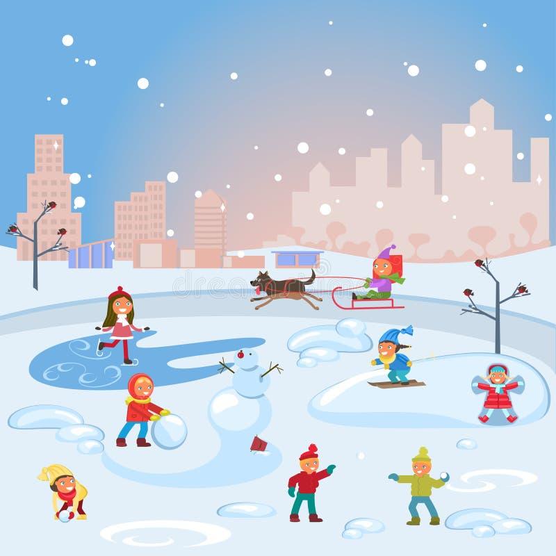 Scena di inverno con i bambini royalty illustrazione gratis