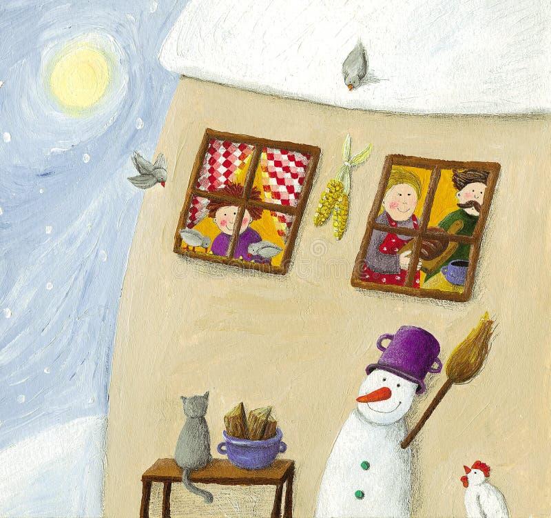 Scena di inverno con la casa della campagna della famiglia illustrazione di stock