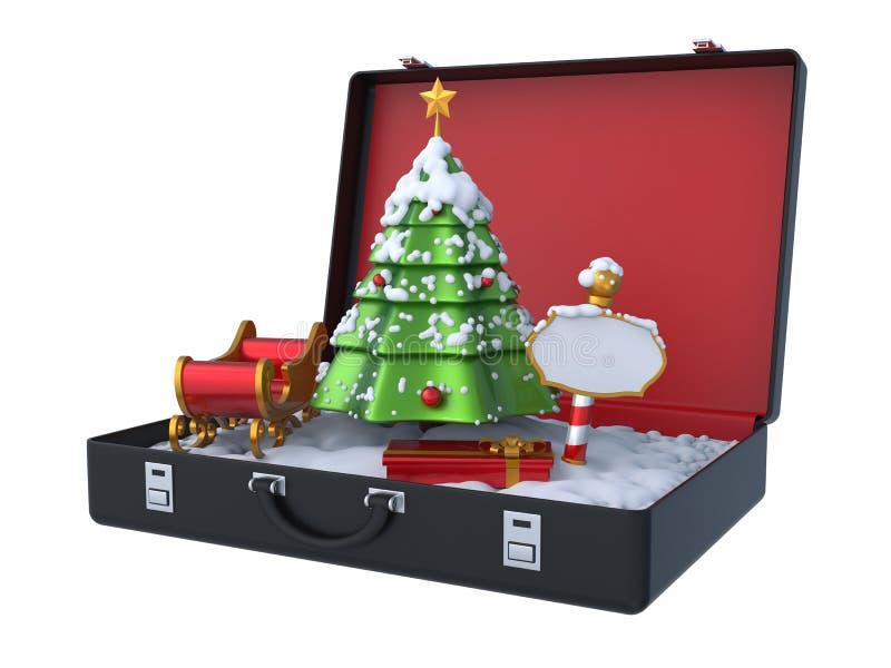 Scena di inverno di Natale dentro la valigia 3D illustrazione di stock