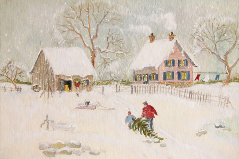 Scena di inverno di un'azienda agricola con la gente illustrazione vettoriale