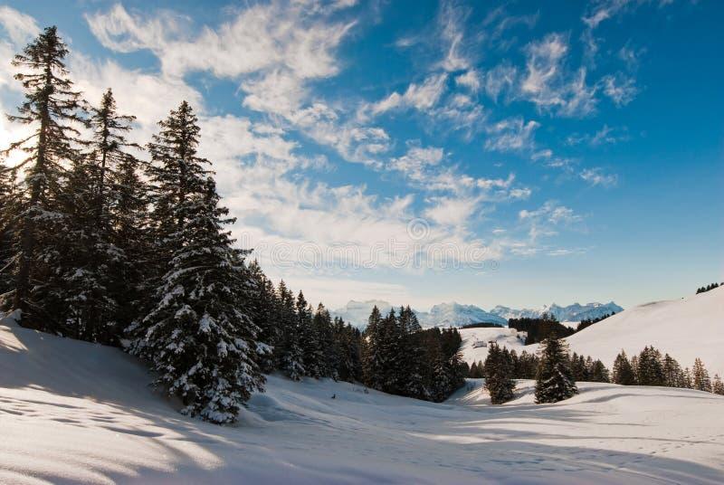 Scena di inverno sopra Amden fotografie stock libere da diritti