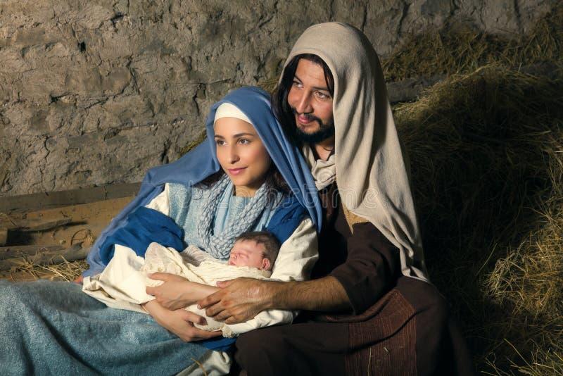 Scena di Joseph Nativity e di Maria fotografia stock libera da diritti