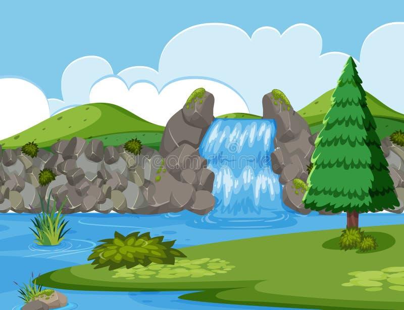 Scena di legno del fiume della cascata illustrazione vettoriale