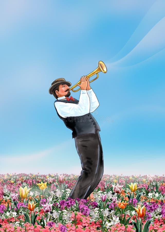 Scena di musica dell'estratto della primavera del trombettista fotografia stock