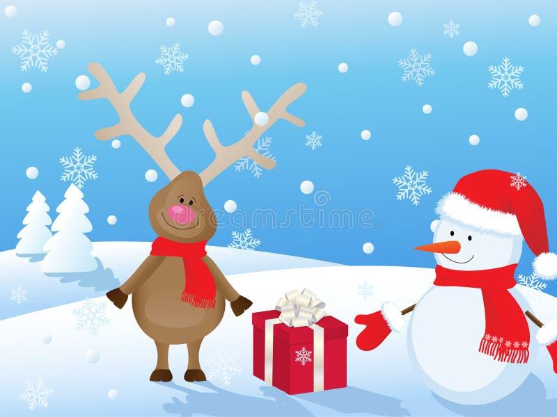 scena di natale con i cervi ed il pupazzo di neve illustrazione vettoriale