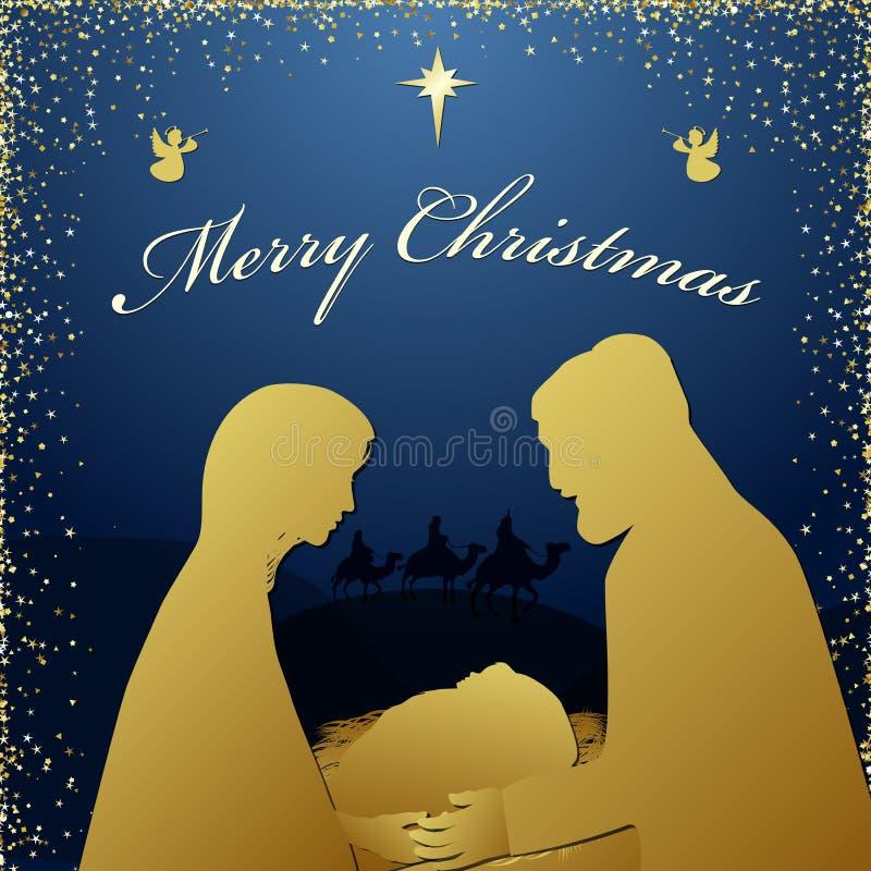 Scena di Natale del bambino Gesù nella mangiatoia con Maria e Joseph royalty illustrazione gratis