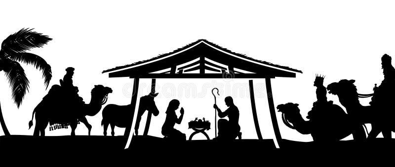 Scena di Natale di natività illustrazione vettoriale