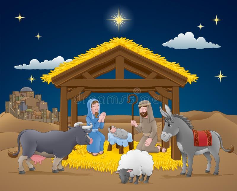 Scena di Natale di natività del fumetto illustrazione vettoriale