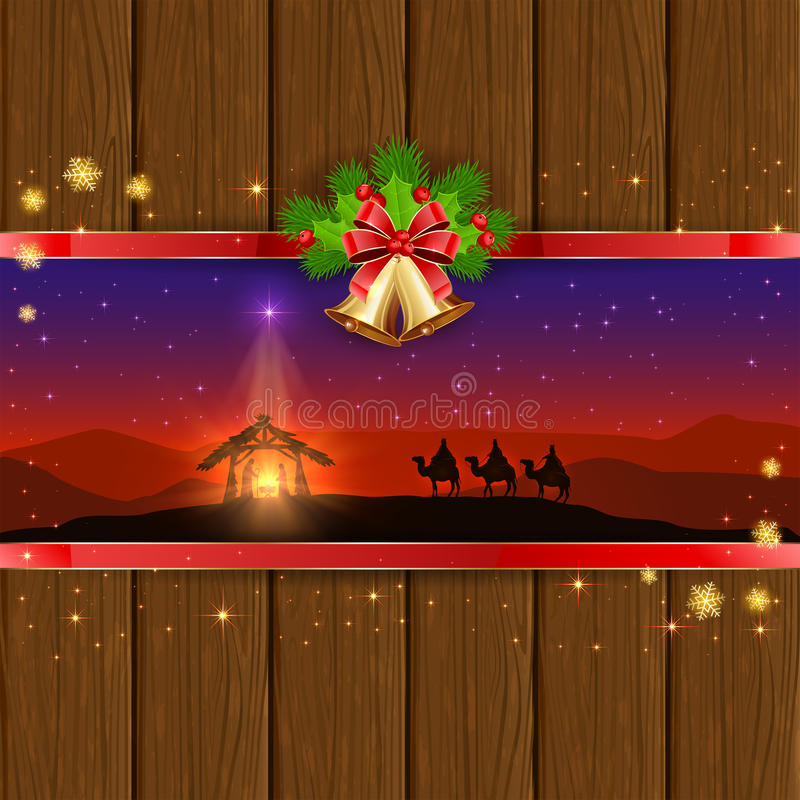 Scena di Natale su fondo di legno con le campane e l'arco illustrazione di stock