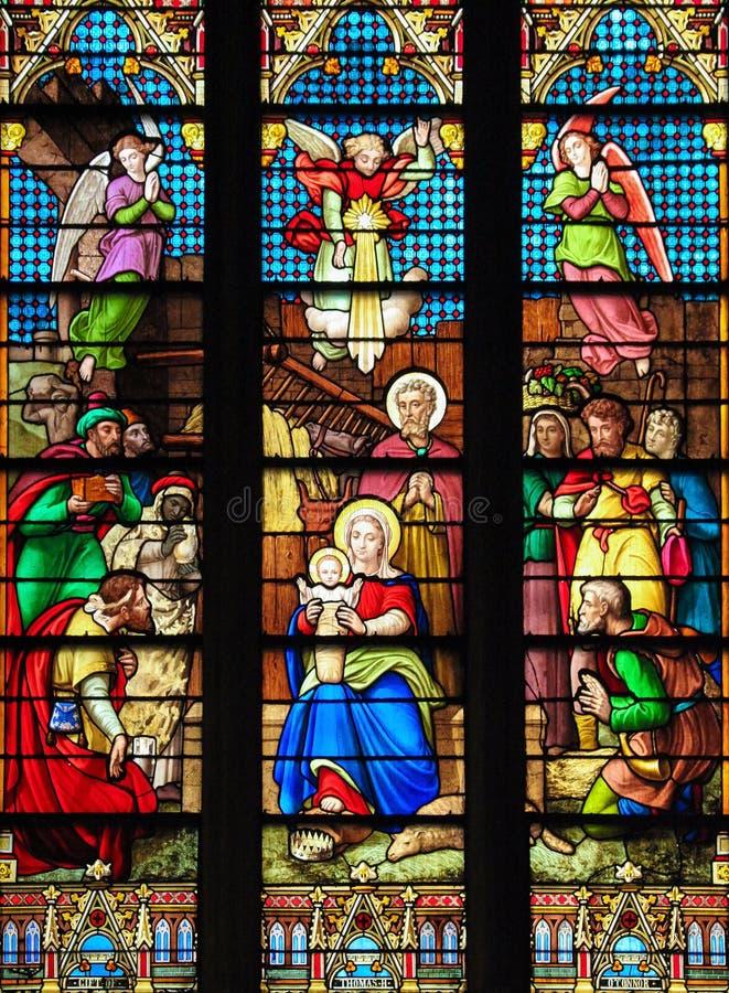 Scena di natività al Natale nella cattedrale di St Patrick, NYC immagini stock libere da diritti