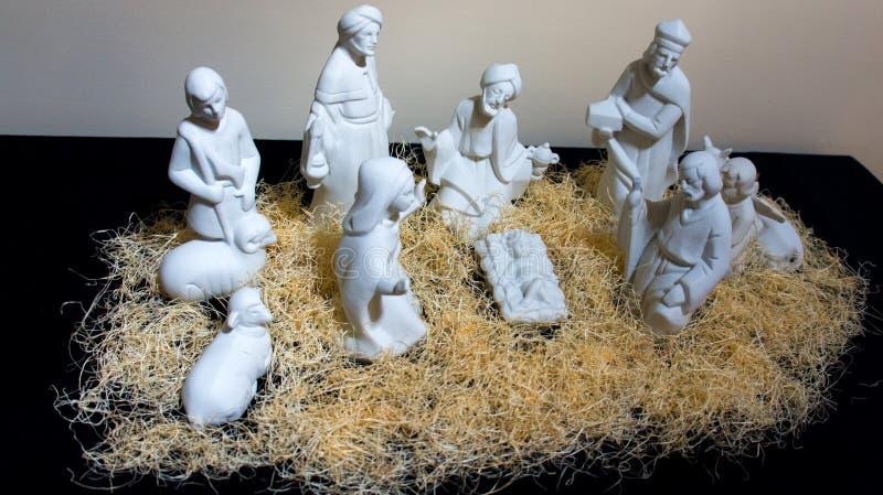 Scena di natività; bambino Gesù fotografia stock