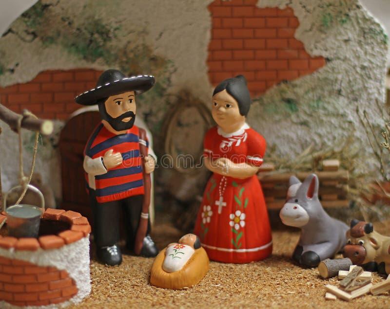 Scena di natività con la famiglia santa nella versione messicana 4 fotografia stock