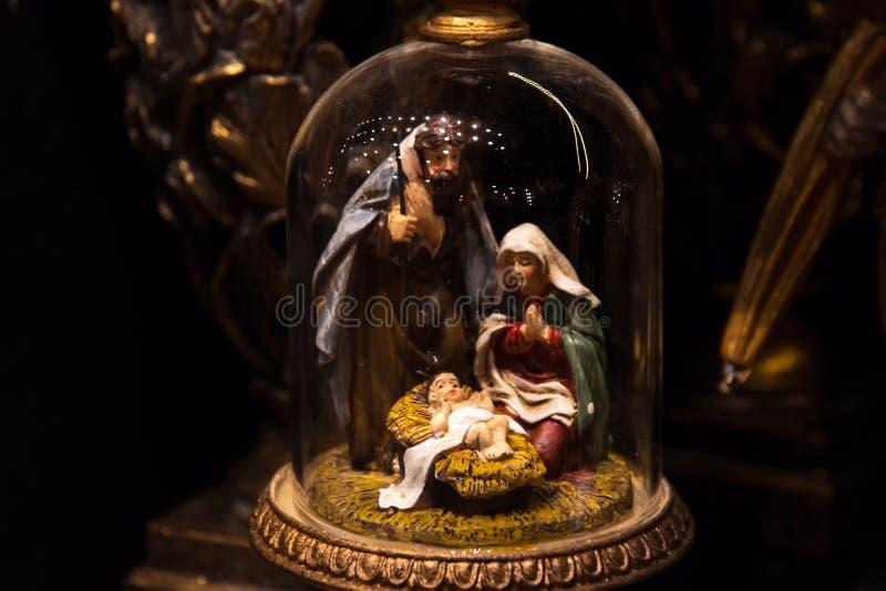 Scena di natività Decorazione di Natale con la nascita del Gesù Cristo del bambino fotografia stock libera da diritti