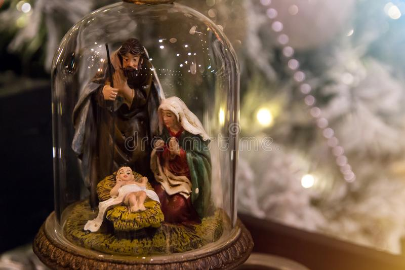 Scena di natività Decorazione di Natale con la nascita del Gesù Cristo del bambino immagini stock