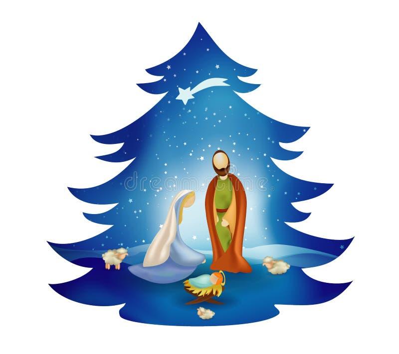 Scena di natività dell'albero di Natale con la famiglia santa su fondo blu bethlehem royalty illustrazione gratis