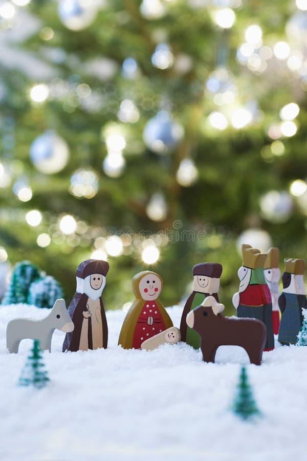 Scena di natività di Natale di Jesus Birth immagine stock