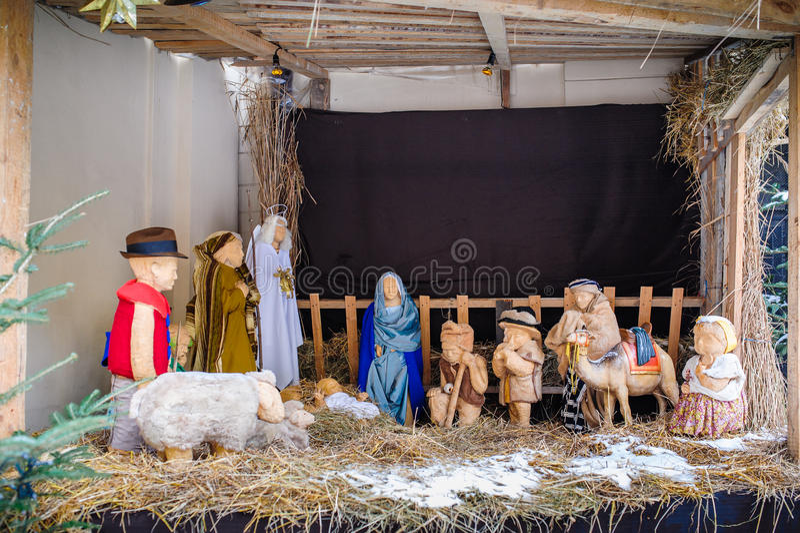 Scena di natività di Natale di Jesus Birth fotografia stock