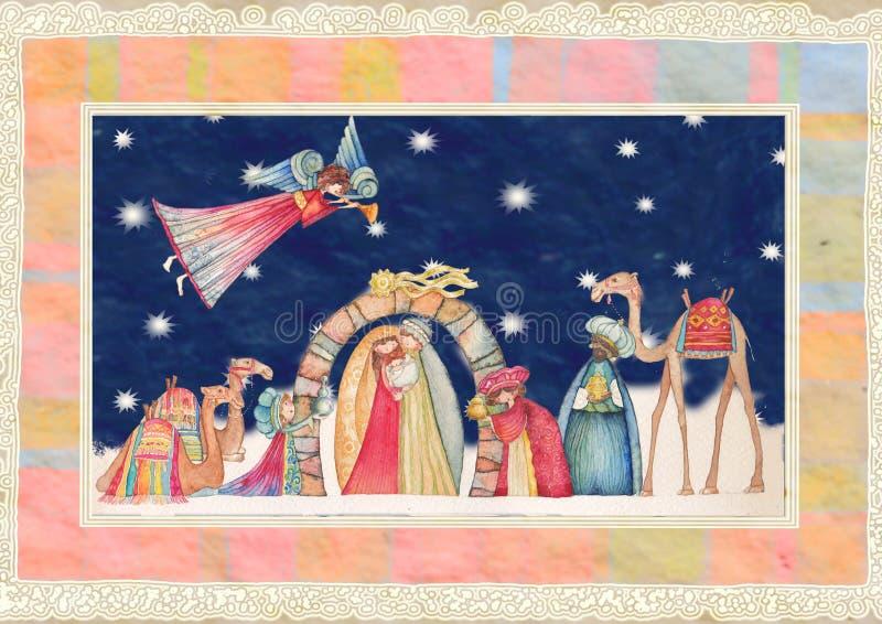 Scena di natività di natale Gesù, Maria, Joseph immagini stock libere da diritti