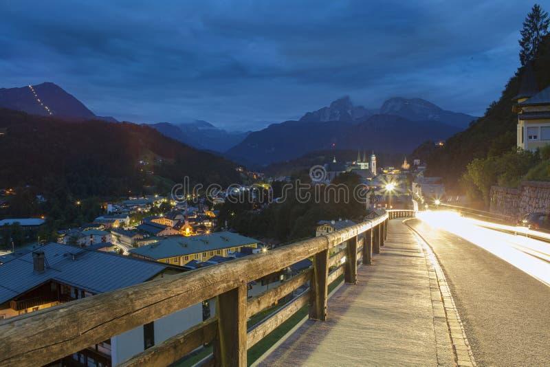 Scena di notte in Berchtesgaden fotografie stock