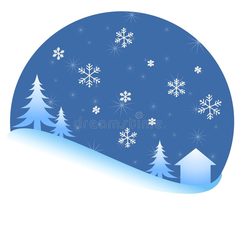 Scena di notte degli alberi della neve di inverno royalty illustrazione gratis