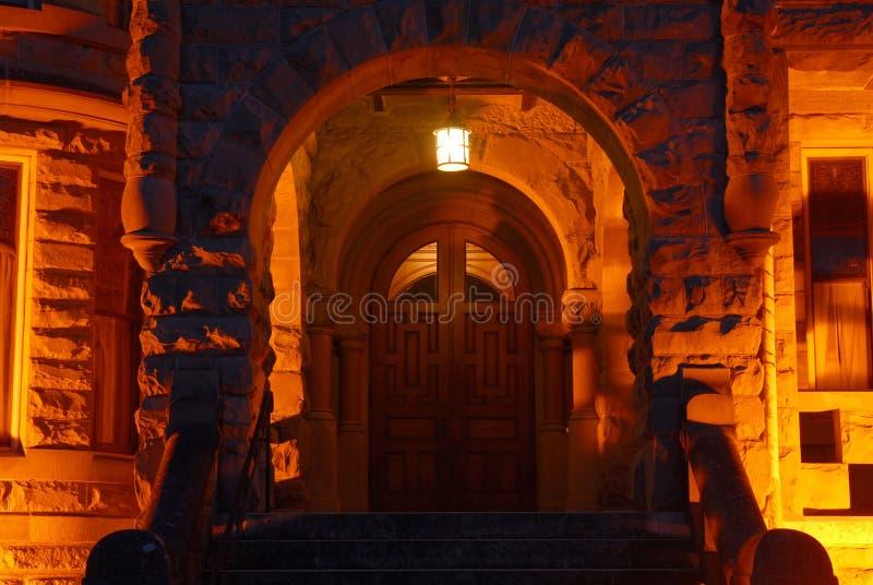 Scena di notte del castello in Victoria fotografia stock libera da diritti