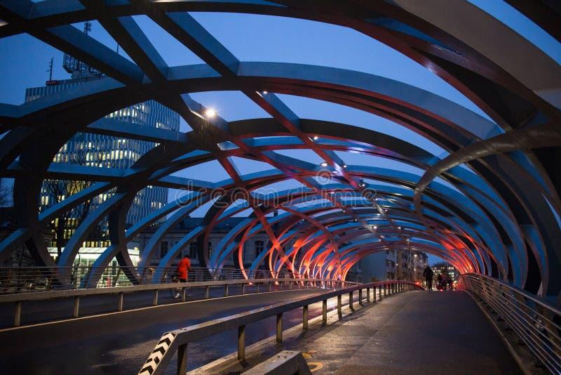 Scena di notte del ponte di Ginevra immagini stock libere da diritti