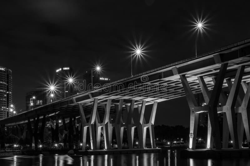 Scena di notte del ponte di Sheares fotografie stock libere da diritti
