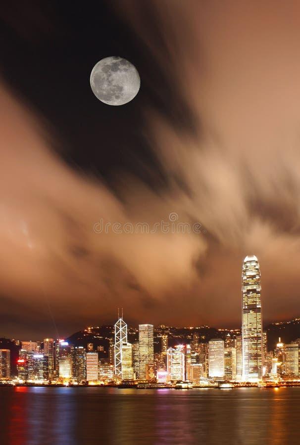Scena di notte del porto di Hong Kong Victoria immagine stock libera da diritti