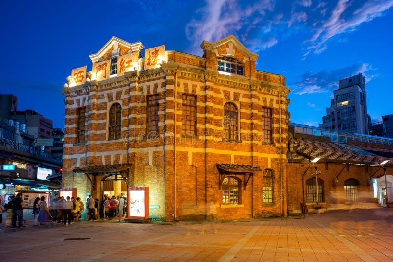 Scena di notte del teatro rosso della casa a Taipeh fotografia stock libera da diritti