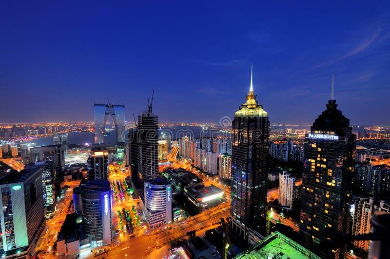 Scena di notte della città della SORSATA di Suzhou immagine stock