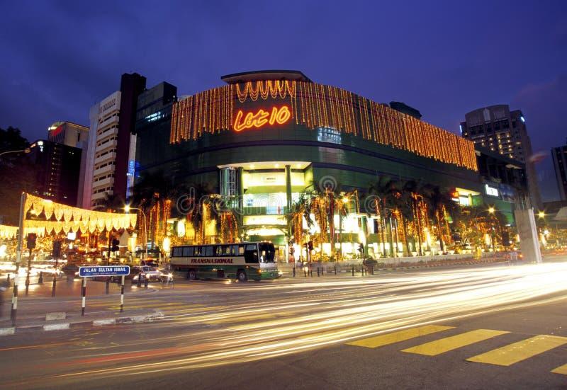 Scena di notte di Bukit Bintang, Kuala Lumpur, Malesia fotografia stock