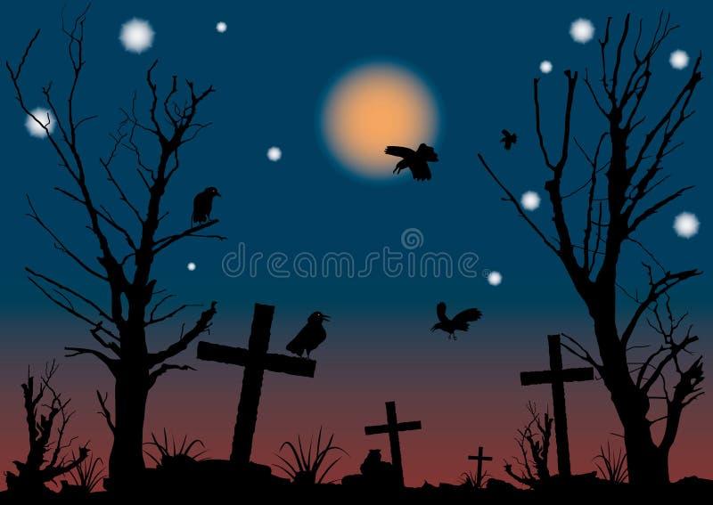Scena di notte di Halloween. illustrazione di stock