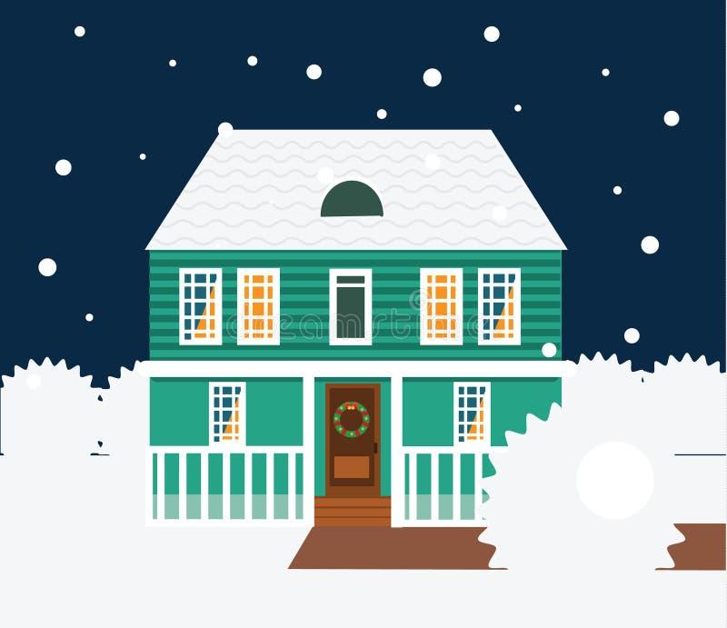 Scena di notte di inverno del bene immobile Camera, cottage, casa urbana, illustrazione domestica dolce di vettore royalty illustrazione gratis