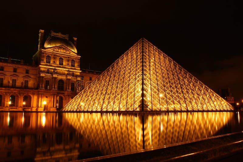 """Scena di notte di Musée du Louvre, 夜景 del ¢æµ®å® del  del å """" immagini stock libere da diritti"""