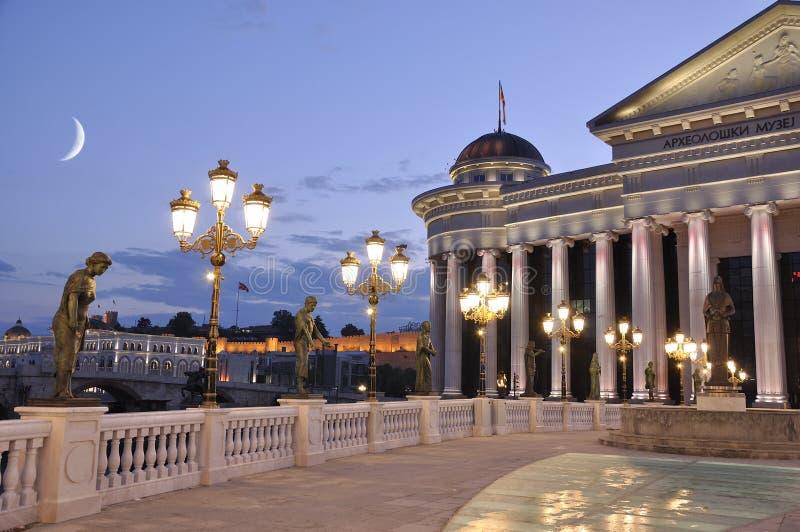 Scena di notte di Skopje immagine stock