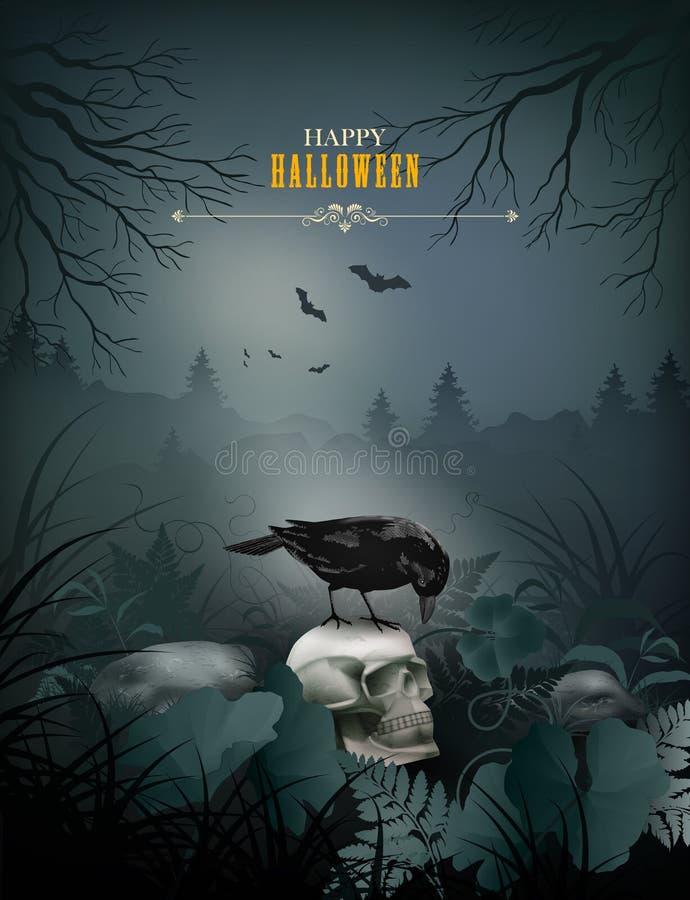 Scena di notte di vettore di Halloween royalty illustrazione gratis