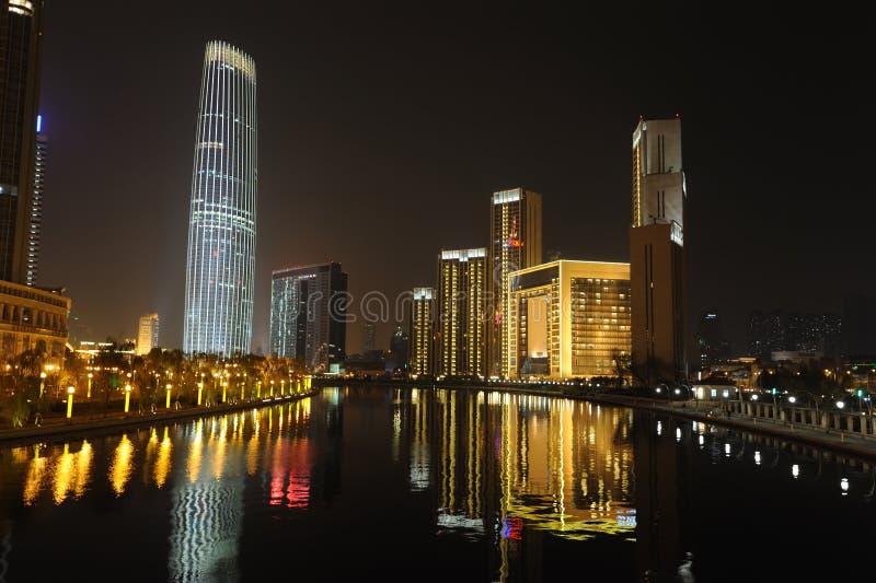 Scena di notte a tianjin immagine stock
